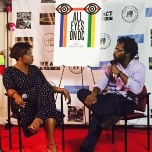 AllEyesOnDC Host Sam P.K. Collins chats with mental health specialist Lanada Williams during the July 10, 2015 live taping at We Act Radio in Southeast, D.C.